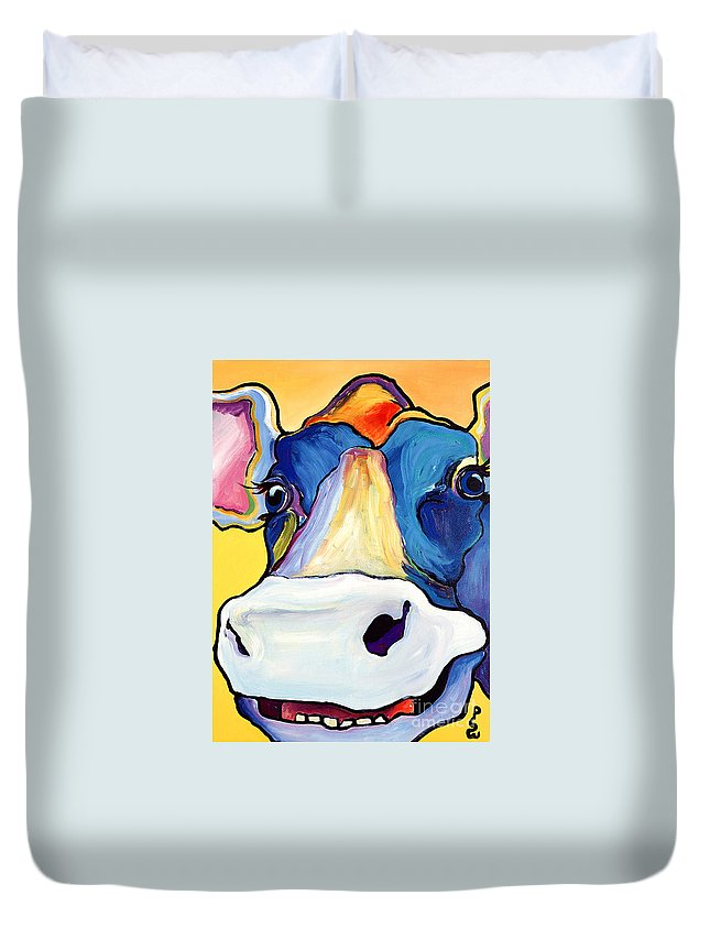 Cow Print Duvet Cover featuring the painting Dairy Queen I  by Pat Saunders-White