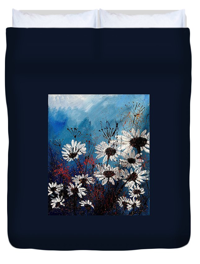 Flowers Duvet Cover featuring the painting Daisies 59060 by Pol Ledent