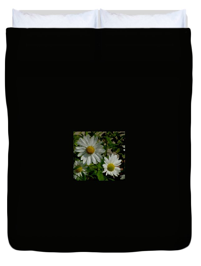 Daisy Duvet Cover featuring the digital art Daisies By The Number by Anita Burgermeister