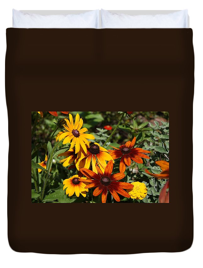 Flowers Duvet Cover featuring the photograph Daisies by Donna Walsh