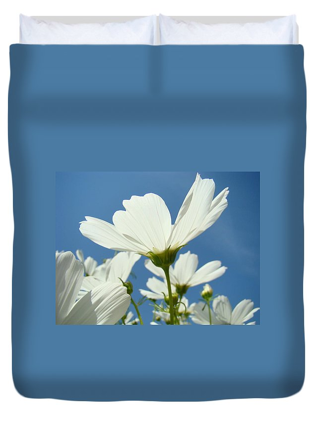 Daisy Duvet Cover featuring the photograph Daisies Floral Art Prints Canvas Daisy Flowers Blue Skies by Baslee Troutman