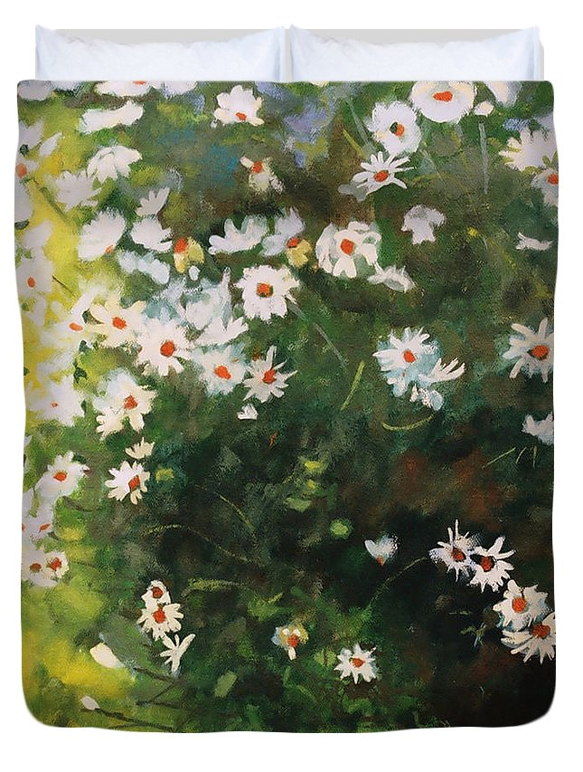 Daisies Duvet Cover featuring the painting Daisies by Iliyan Bozhanov