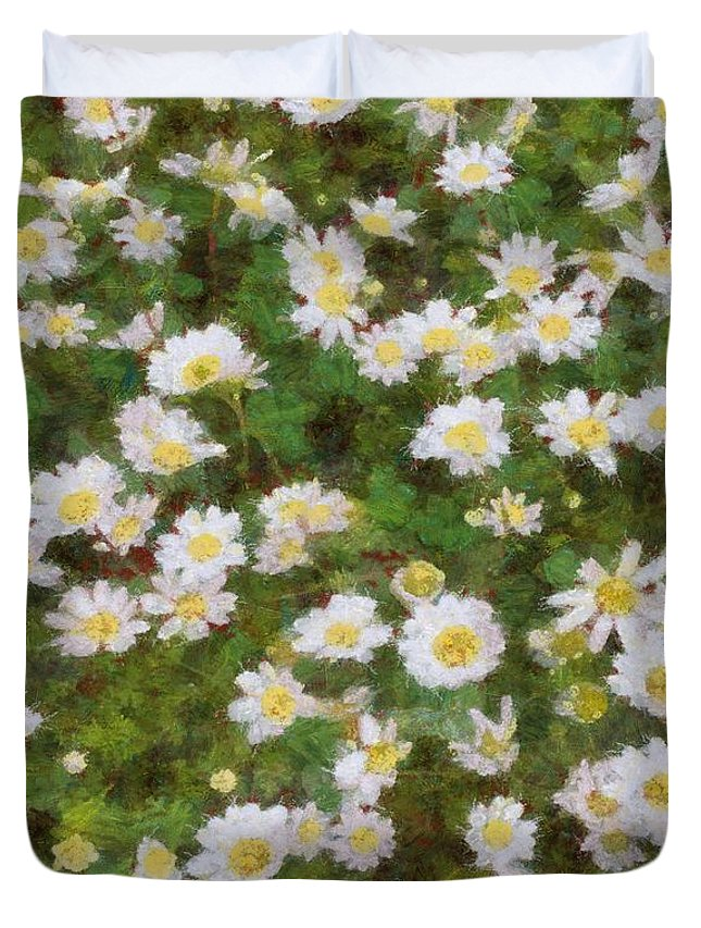 Common Daisy Duvet Cover featuring the painting Daisies In Spring by Taiche Acrylic Art