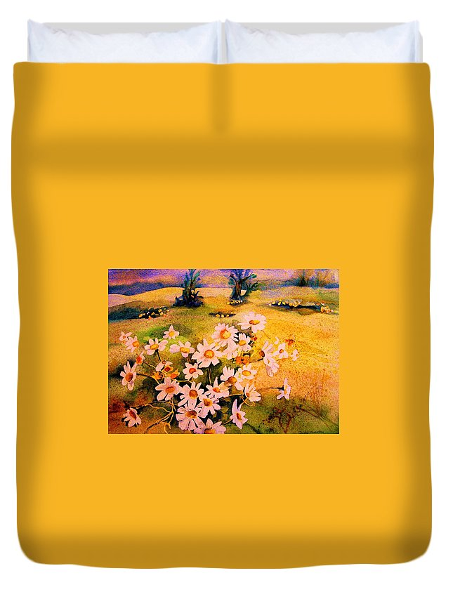 Daisies Duvet Cover featuring the painting Daisies In The Sun by Carole Spandau
