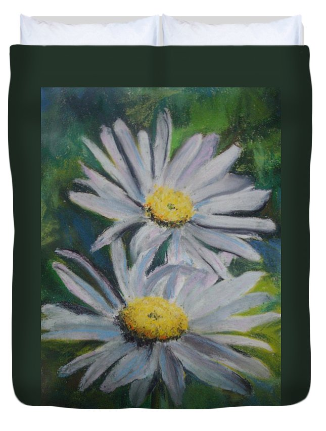 Daisies Duvet Cover featuring the painting Daisies by Melinda Etzold