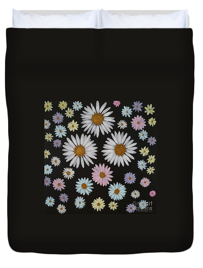 Daisy Duvet Cover featuring the painting Daisies On Black by Monika Shepherdson