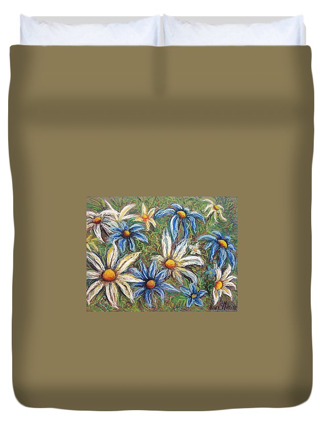 Daisies Duvet Cover featuring the pastel Daisies Pastel by Nancy Mueller