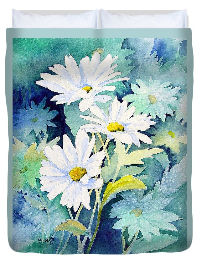 Flowers Duvet Cover featuring the painting Daisies by Sam Sidders
