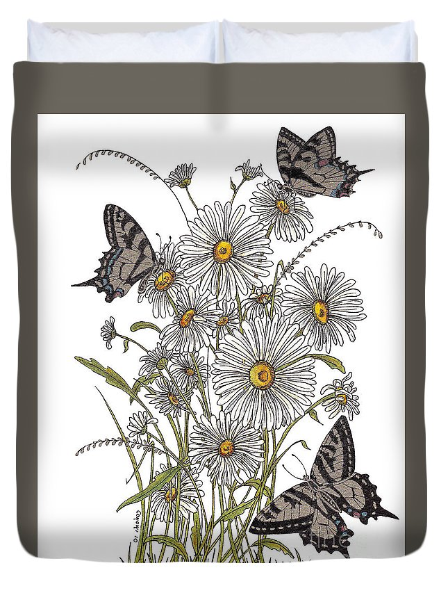 Gold Duvet Cover featuring the painting Daisy At Your Feet by Stanza Widen