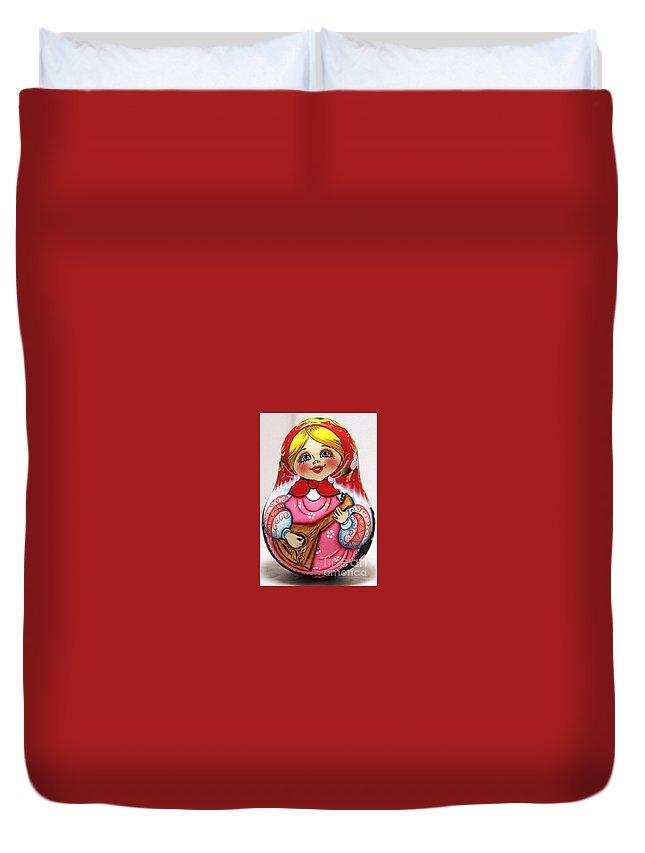 Free Shipping Rolly Poly Bell Daisy Balalaika Girl Traditional Russian Art Woodcurved Hand Painted Doll Matreshka Doll Nevalyashka Art Doll Duvet Cover featuring the painting Daisy Balalaika Chime Doll by Viktoriya Sirris