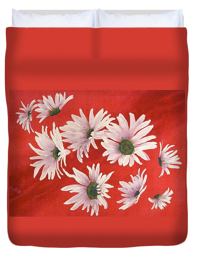Flowers Duvet Cover featuring the painting Daisy Chain by Ruth Kamenev
