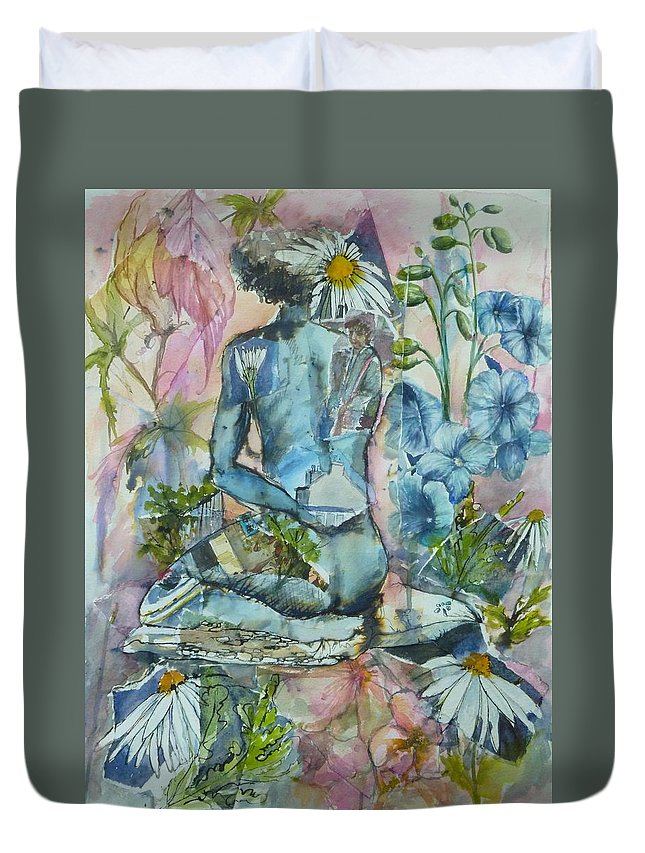 Figurative Duvet Cover featuring the painting Daisy In The Garden by Denise Allen