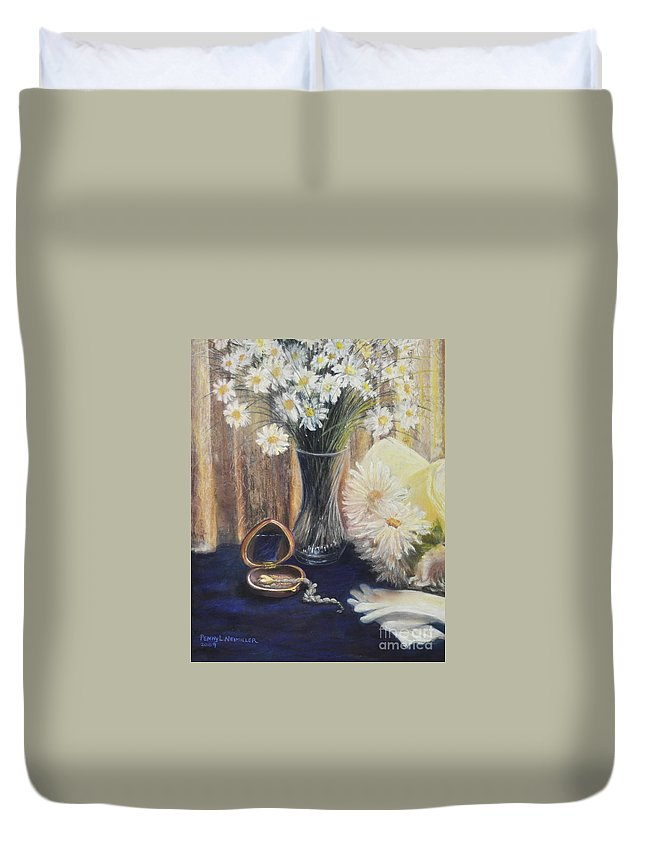 Paintings With Daisys In Duvet Cover featuring the painting Daisy Love by Penny Neimiller