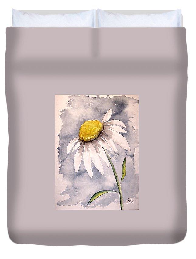 Daisy Duvet Cover featuring the painting Daisy Modern Poster Print Fine Art by Derek Mccrea