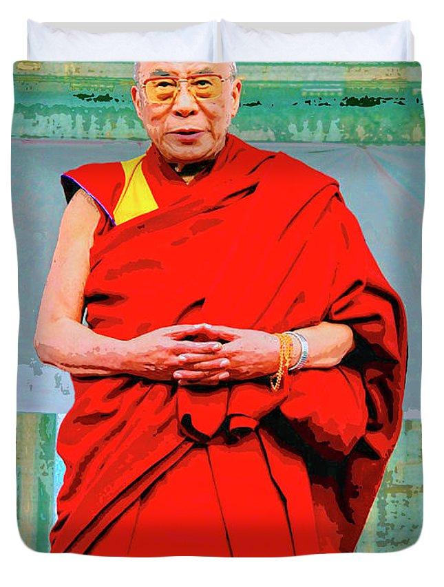 Dalai Lama Duvet Cover featuring the mixed media Dalai Lama by Dominic Piperata