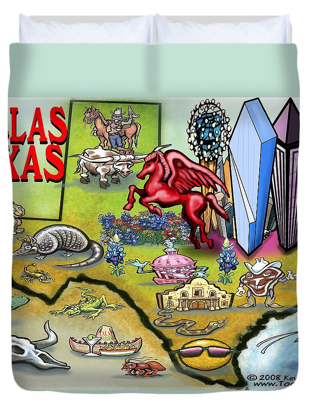 Dallas Duvet Cover featuring the digital art Dallas Texas Cartoon Map by Kevin Middleton