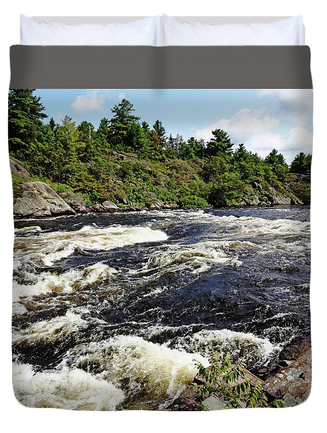 Dalles Rapids Duvet Cover featuring the photograph Dalles Rapids French River II by Debbie Oppermann