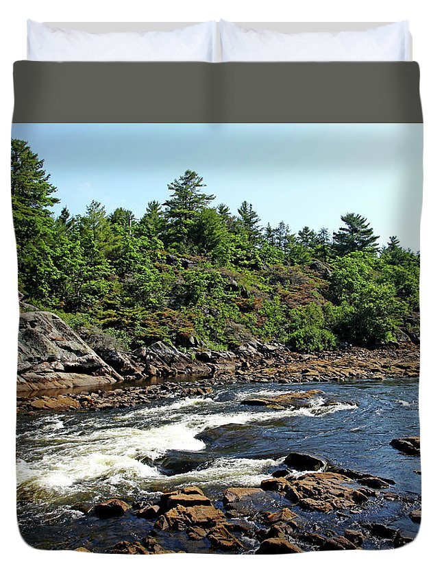 Dalles Rapids Duvet Cover featuring the photograph Dalles Rapids French River Ontario by Debbie Oppermann