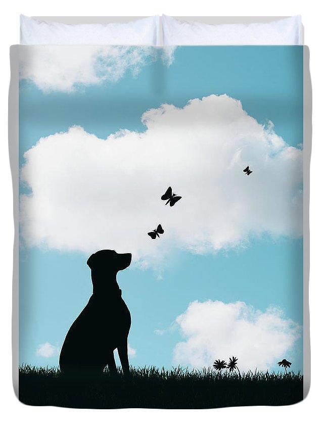 Dalmatian Duvet Cover featuring the photograph Dalmatian Dog Silhouette by Amanda Elwell