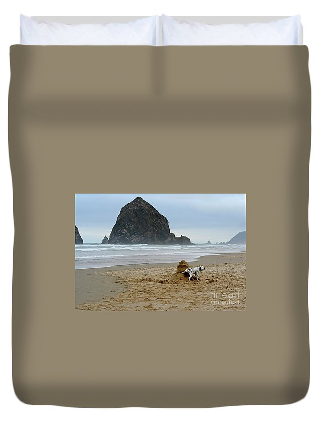 Dalmatian Duvet Cover featuring the photograph Dalmatian Peeing On Sandcastle by Bruce Block