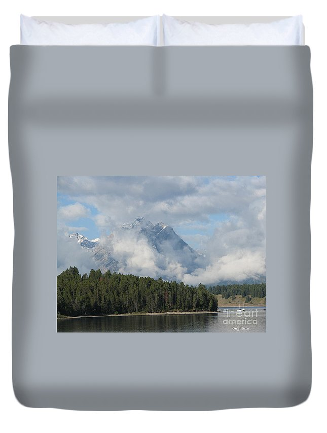 Patzer Duvet Cover featuring the photograph Dam Clouds by Greg Patzer