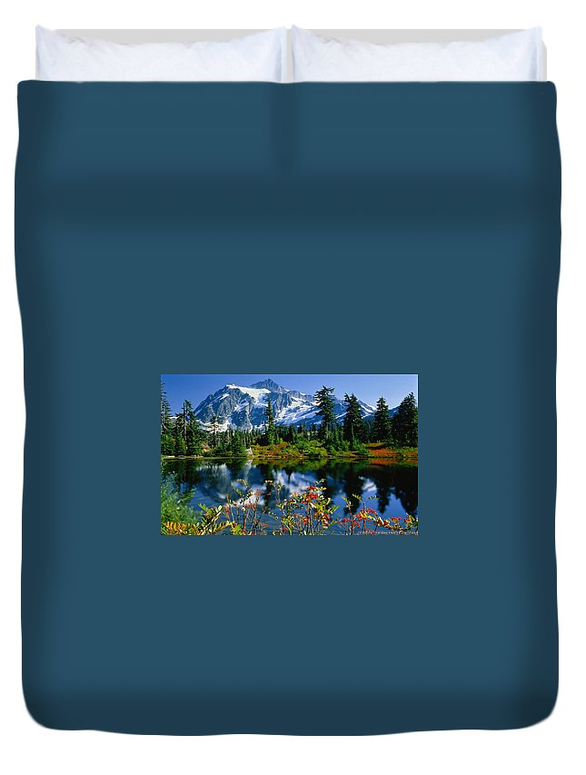 Damian Trevor - Awesome Duvet Cover featuring the photograph Damian Trevor - Awesome Mountain Tree Nature Landscape by Damian Trevor
