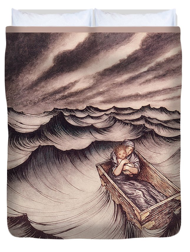 Arthur Rackham Duvet Cover featuring the drawing Danae And Her Son Perseus Put In A Chest And Cast Into The Sea by Arthur Rackham