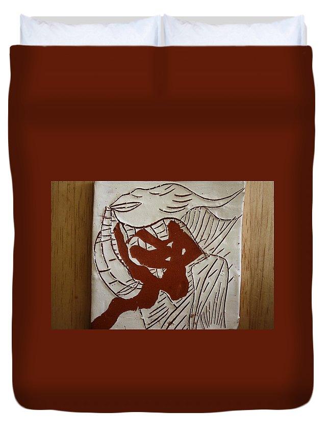 Jesus Duvet Cover featuring the ceramic art Dance - Tile by Gloria Ssali