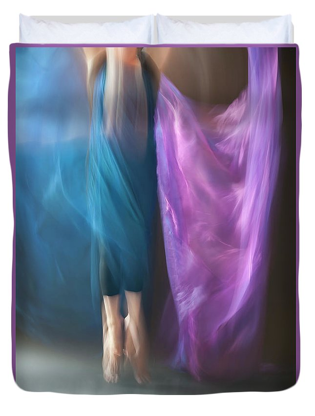 Dancer Duvet Cover featuring the photograph Jete Battu by Adele Aron Greenspun