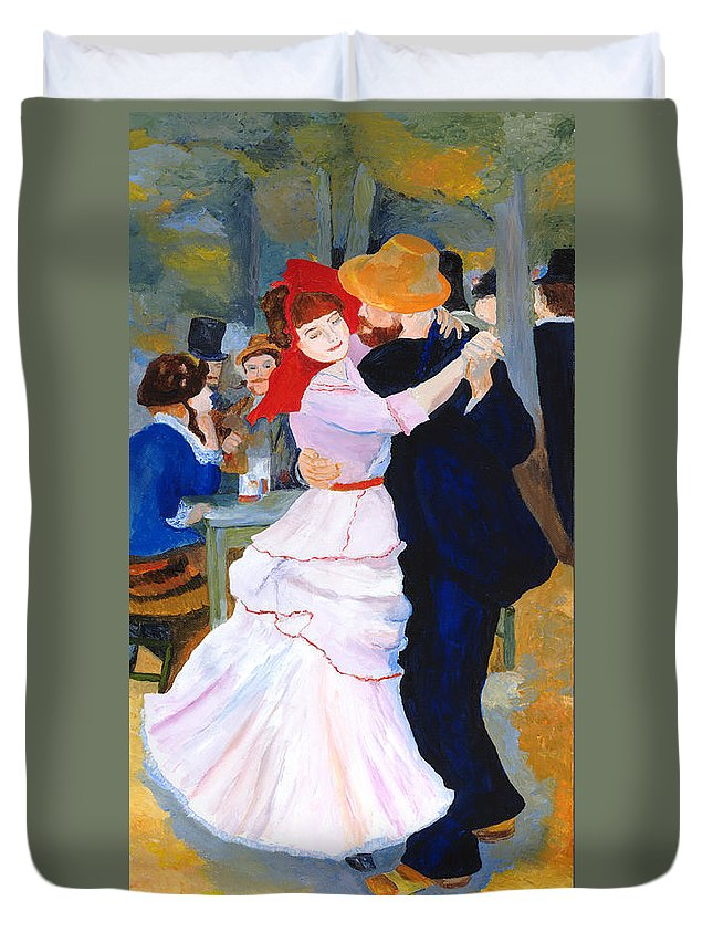 Dance At Bougival Duvet Cover featuring the painting Dance At Bougival After Renoir by Rodney Campbell
