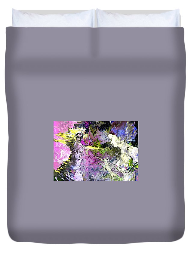 Miki Duvet Cover featuring the painting Dance In Violet by Miki De Goodaboom