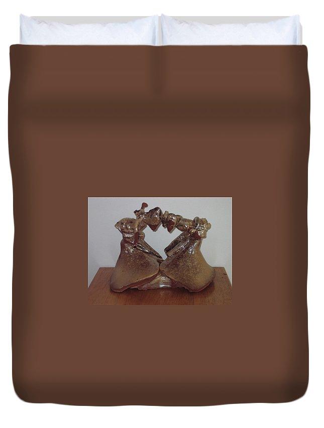 Jesus Duvet Cover featuring the sculpture Dance Ladies by Gloria Ssali