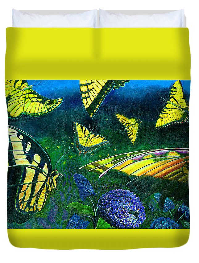 Butterfly Duvet Cover featuring the painting Dance Of The Butterflies by Peter Bonk