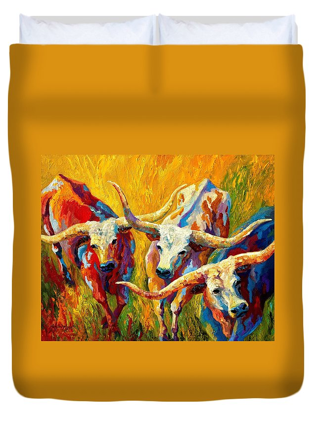 Western Duvet Cover featuring the painting Dance Of The Longhorns by Marion Rose