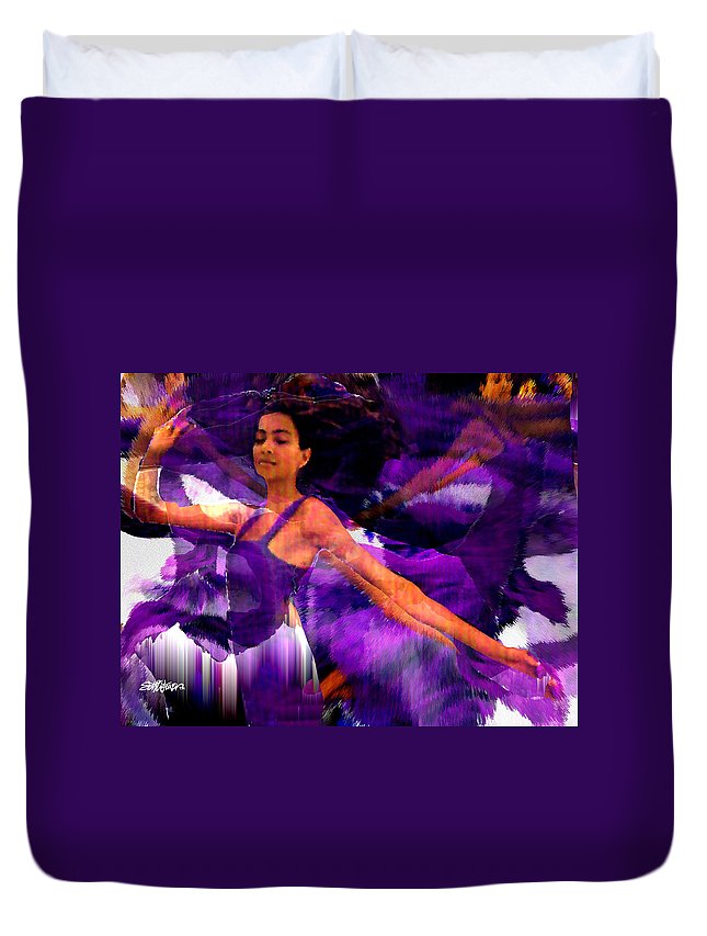 Mystical Duvet Cover featuring the digital art Dance Of The Purple Veil by Seth Weaver