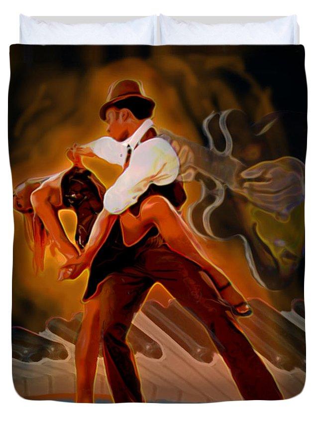 Tango Guitar Piano Man Woman Portrait Fine Art Print Bue Black Orange Hat Hand Duvet Cover featuring the painting Dance Scene Xv by Fli Art