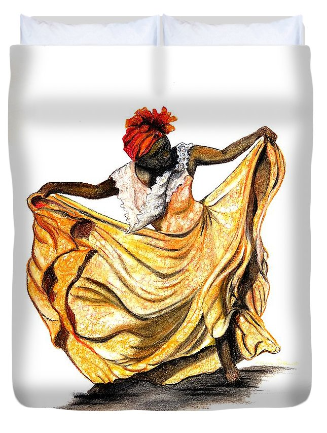 Dancer Duvet Cover featuring the pastel Dance The Belair by Karin Dawn Kelshall- Best