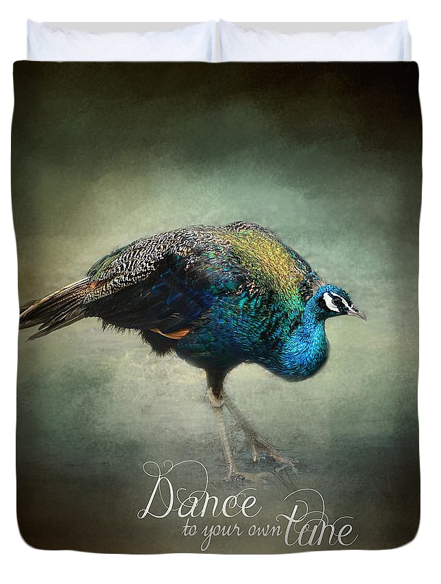 Jai Johnson Duvet Cover featuring the photograph Dance To Your Own Tune - Peacock Art by Jai Johnson