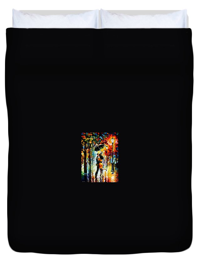 Afremov Duvet Cover featuring the painting Dance Under The Rain by Leonid Afremov