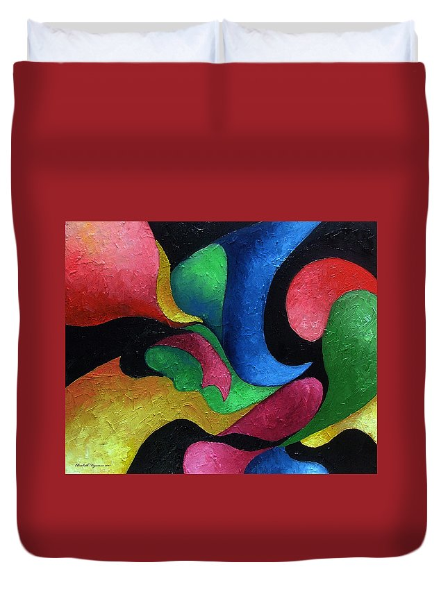 Abstract Duvet Cover featuring the painting Dance With Me by Elizabeth Lisy Figueroa