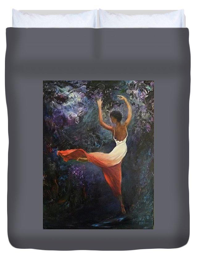 Dance Duvet Cover featuring the painting Dancer A by Sylva Zalmanson
