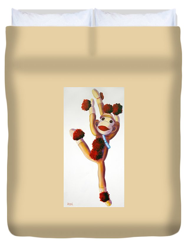 Dancer Duvet Cover featuring the painting Dancer Made Of Sockies by Shannon Grissom
