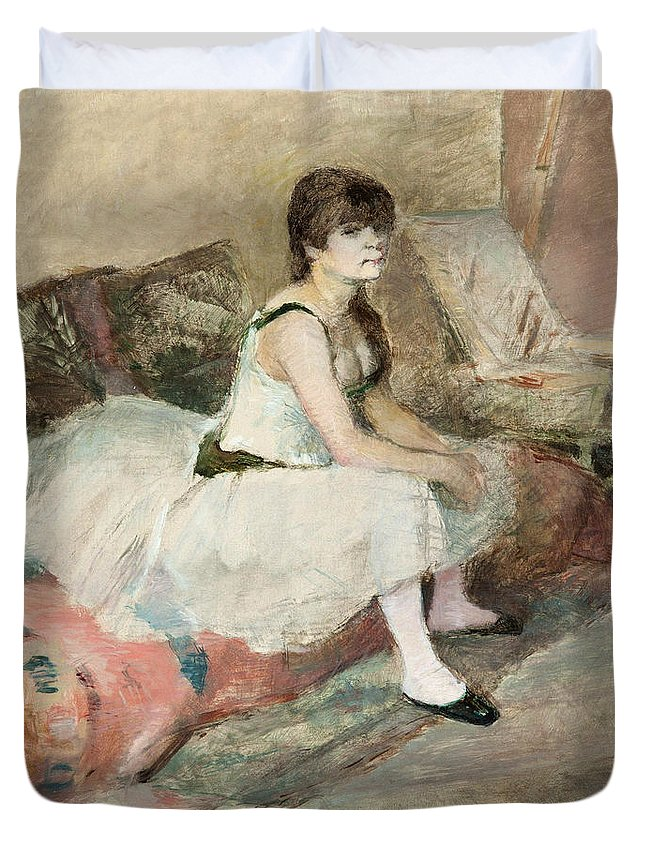 Girl Duvet Cover featuring the painting Dancer Seated On A Pink Divan 1884 by Henri De Toulouse Lautrec