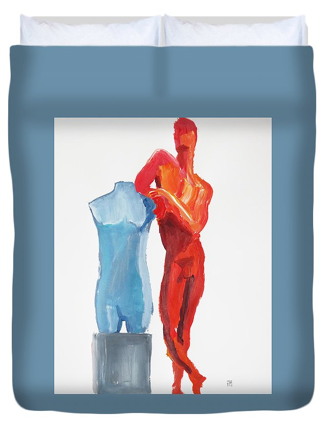 Male Duvet Cover featuring the painting Dancer With Mannekin by Shungaboy X