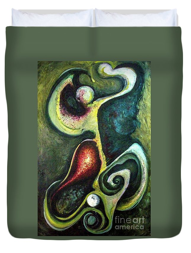Abstract Duvet Cover featuring the painting Dancers by Heather Joi