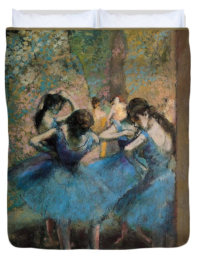Dancers Duvet Cover featuring the painting Dancers In Blue by Edgar Degas