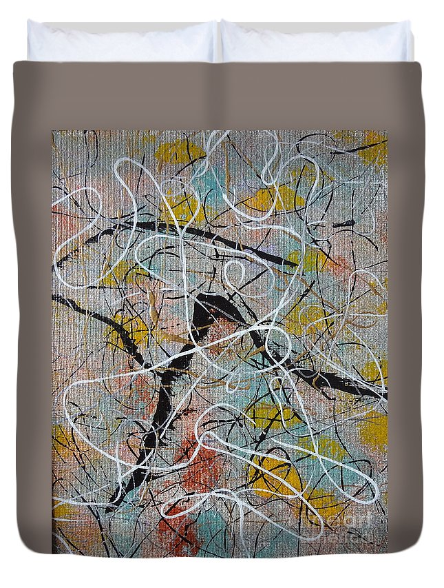 Abstract Duvet Cover featuring the painting Dancers by Jacqueline Athmann