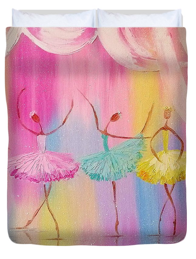 Dancers Duvet Cover featuring the painting Dancers by Olha Darchuk