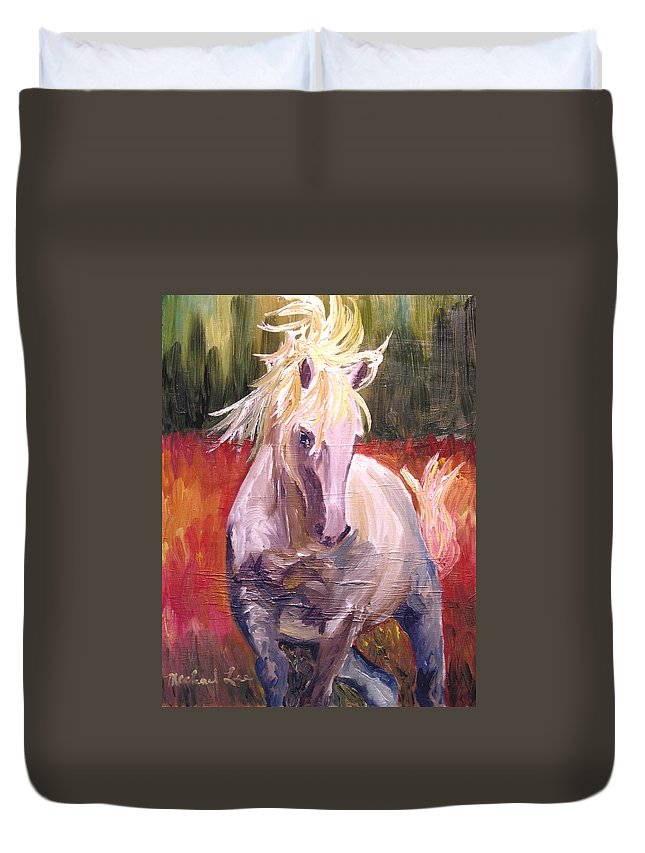 Horse Duvet Cover featuring the painting Dances In Fire Meadow by Michael Lee