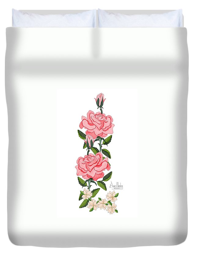 Roses Duvet Cover featuring the painting Dancing by Anne Norskog
